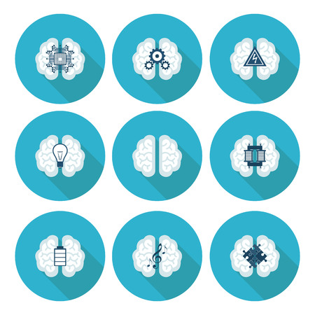 concentration gear: Collection of brain, creation and idea icons and elements