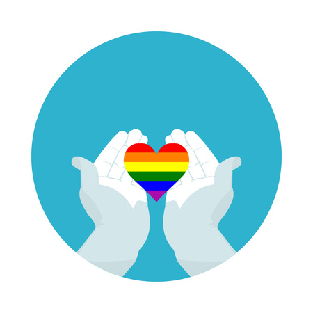 flat icon heart of LGBT in vector format Illustration