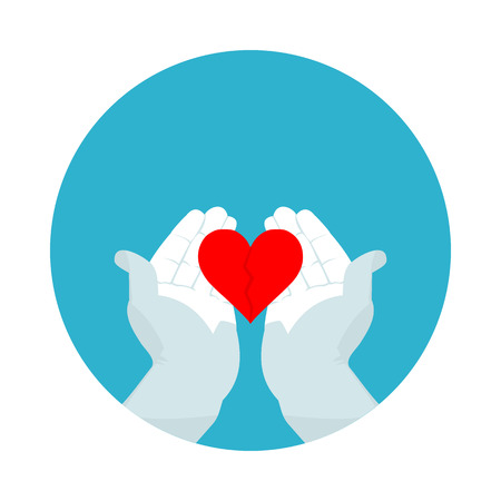 flat icon broken heart in vector format