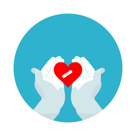 płaskie ikony złamane serce w formacie wektorowym