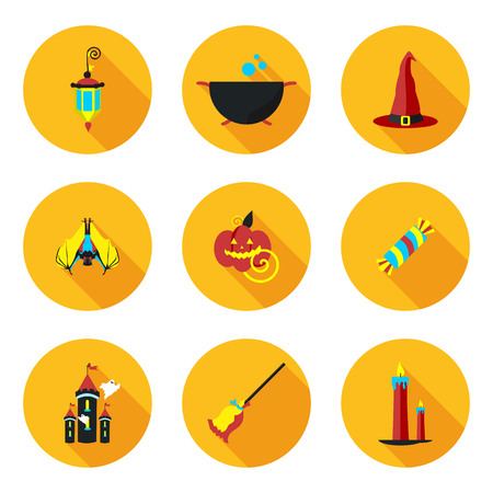 flat icons of Halloween in vector format