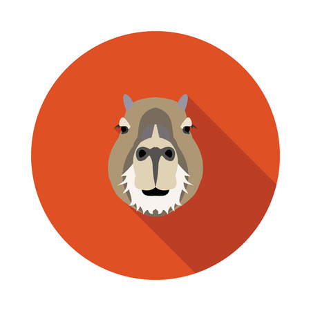 biggest animal: flat icon a capybara in vector format