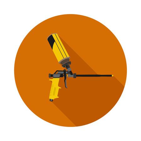 caulk: flat icon gun for foam in vector format