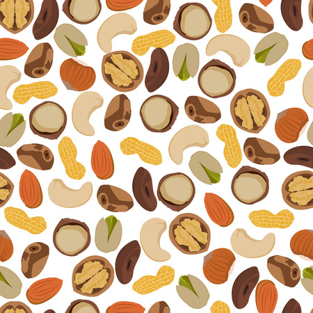 filberts: seamless pattern nuts in vector format eps10 Illustration