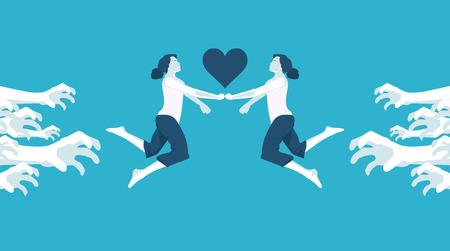 condemnation: forbidden love lesbian in vector format
