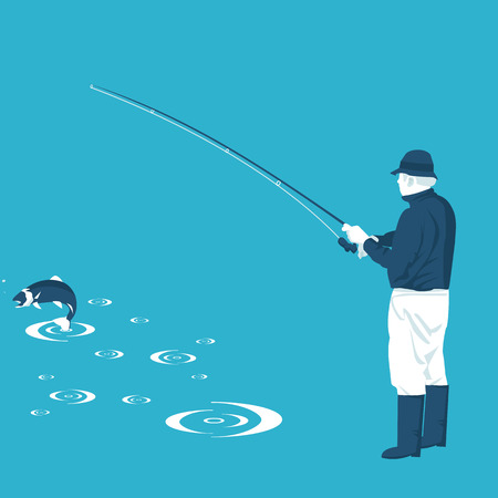 fisherman and fish in vector format eps10
