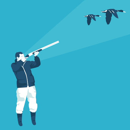hunter shoots a duck in vector format Illustration