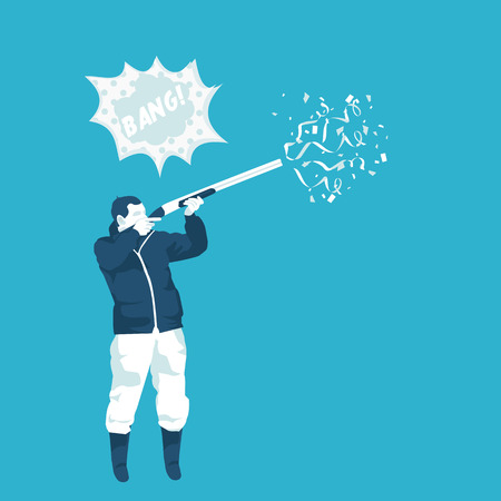 hunter shoots ,confetti gun in vector format Illustration