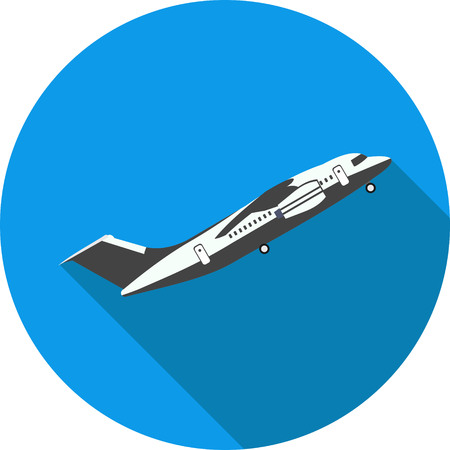 aerodynamic: flat icon plane takes off in vector format eps10 Illustration