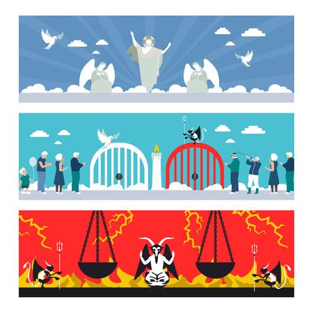 flat illustration of heaven and hell in vector format eps10 Illustration
