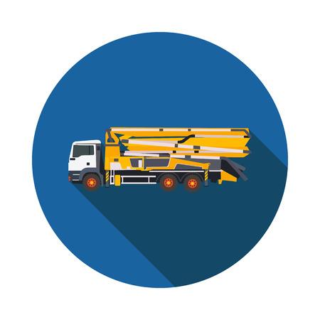 techology: flat icon concrete pump in vector format eps10 Illustration