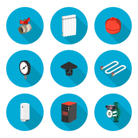 flat icons set heating in vector format eps10 Illustration