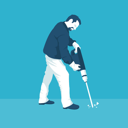 man with a jackhammer in vector format eps10 Illustration
