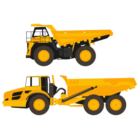 set of flat dump trucks
