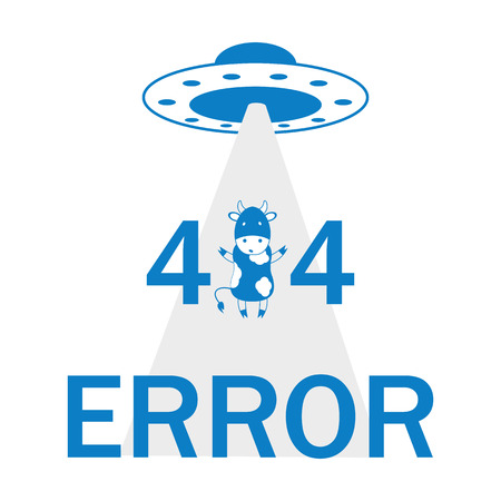 compact track loader: error 404 UFO and cow Illustration