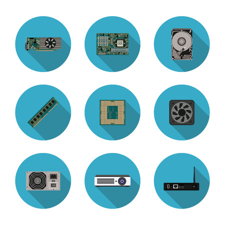 Flat icons computer components