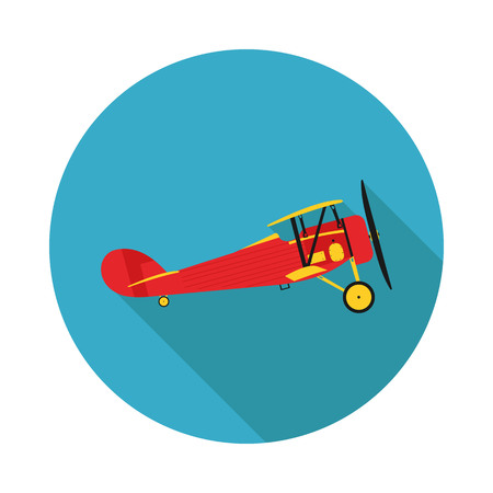 pilot  cockpit: Flat icon aircraft biplane in vector format