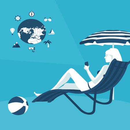 to sunbathe: flat illustration of vacation on sea Internet service