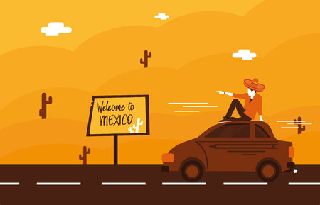 traje mexicano: illustration of welcome to Mexico