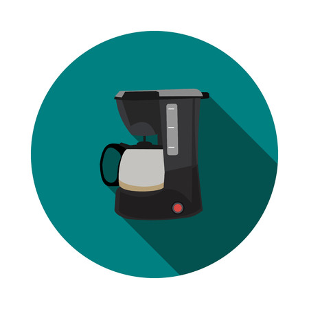 contemporary taste: Flat icon coffee maker Illustration