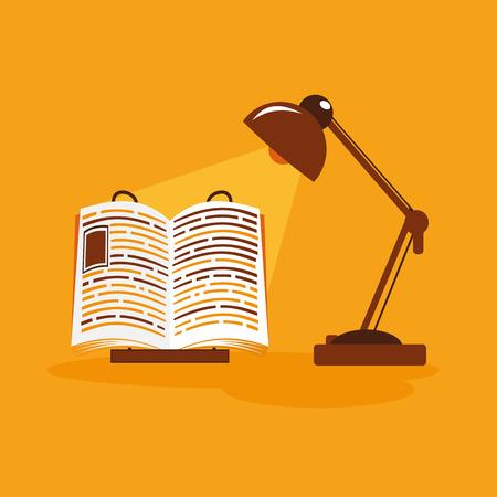 flat illustration with book lamp Illustration
