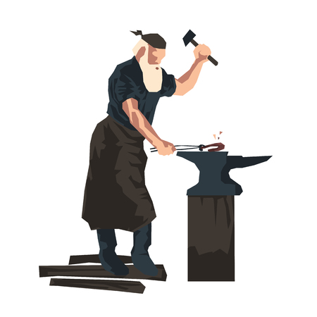 flat vector illustration of a blacksmith