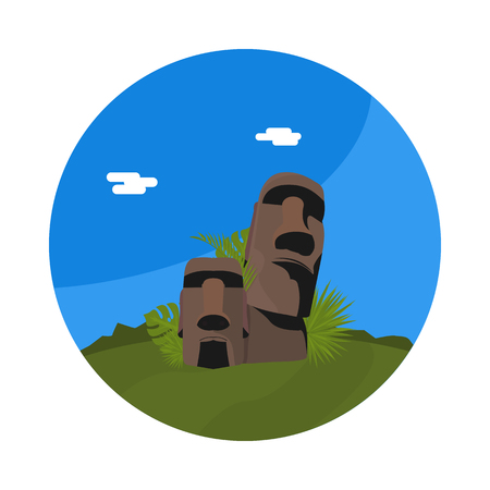 flat icon statues of Easter island Illustration