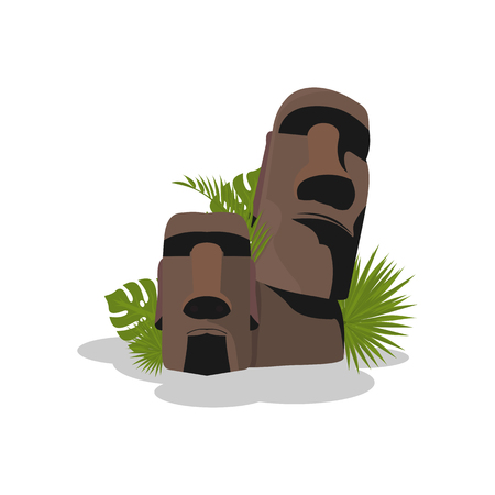 flat illustration of Easter island in vector format Vettoriali