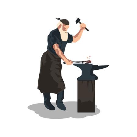 flat vector illustration of a blacksmith in vector format