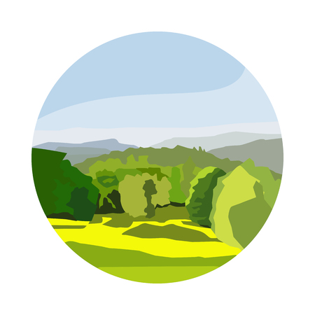 flat nature forest and glade icon Illustration