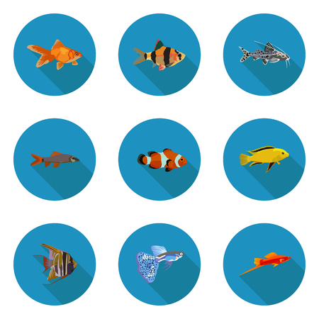 Set of flat aquarium fish icons