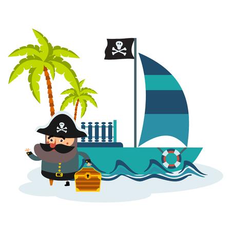 Flat illustration of pirate and treasure island.