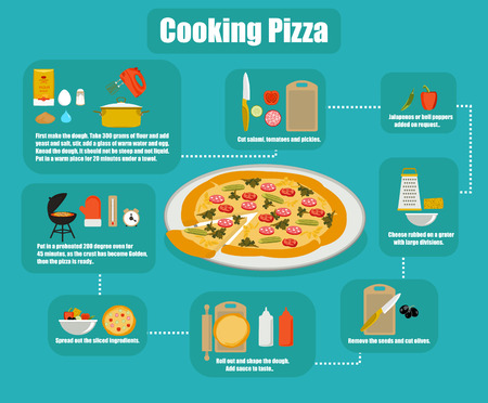 info-graphics pizza cooking flat style vector illustration.