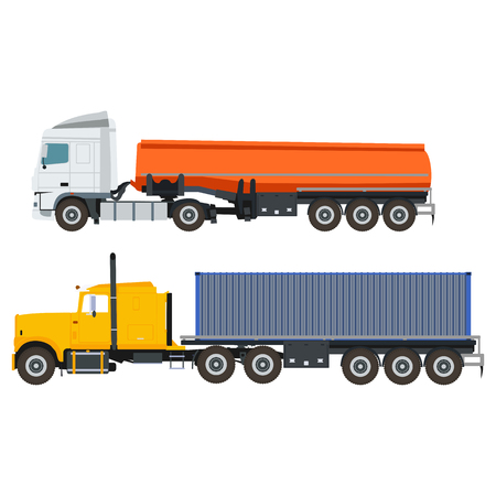 flat truck with container and tank in vector format Illustration