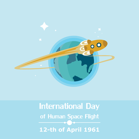 Flat illustration of the International Day of Human Space Flight in vector format.