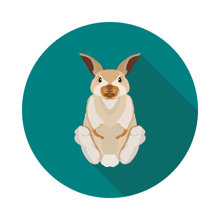 Cool flat icon rabbit in vector format with shadow illustration.