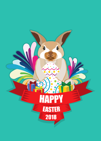 Flat illustration of Easter Bunny greeting card in vector format.