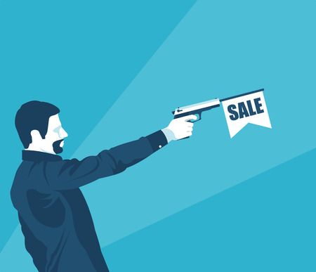 Man with the gun sale in vector format illustration.