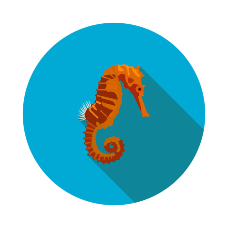 Flat seahorse icon in vector format with shadow illustration.