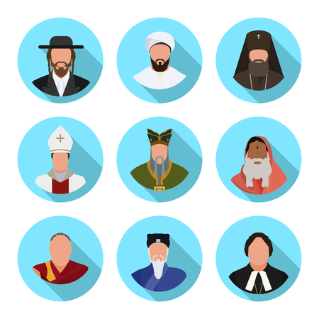 Set of flat icons representatives of religious denominations in the world in vector format.