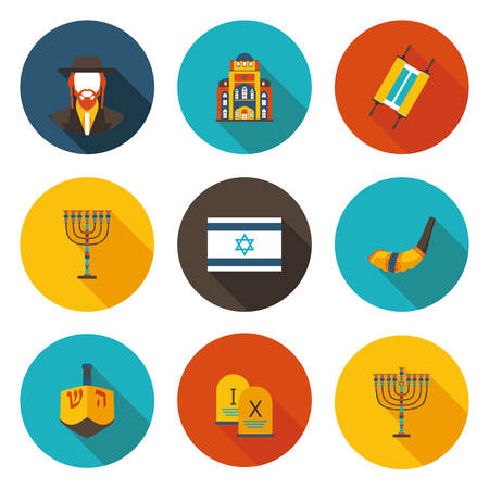 set of flat icons Judaism in vector format Illustration
