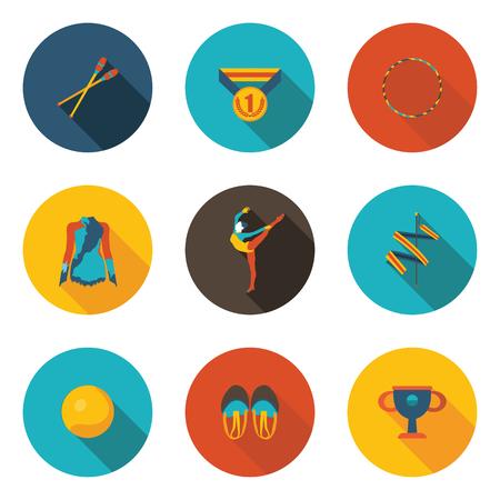 rhythmic gymnastics flat icon set 矢量图像