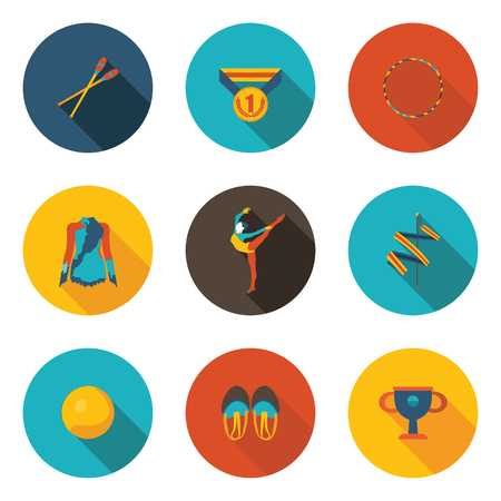 rhythmic gymnastics flat icon set Illustration