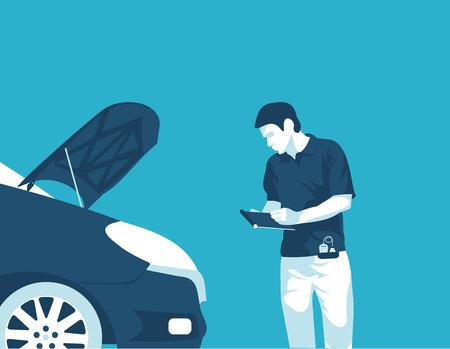 Flat illustration vehicle diagnostics wizard
