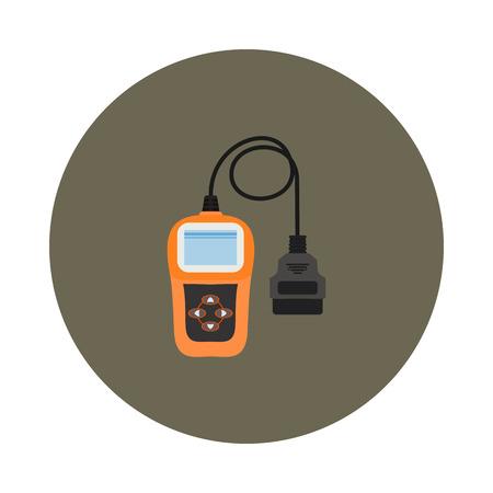 Flat scanner icon for auto diagnostics Illustration