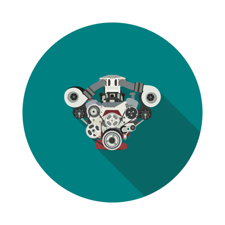 Flat internal combustion engine icon in vector format.