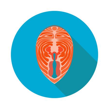flat red fish steak icon