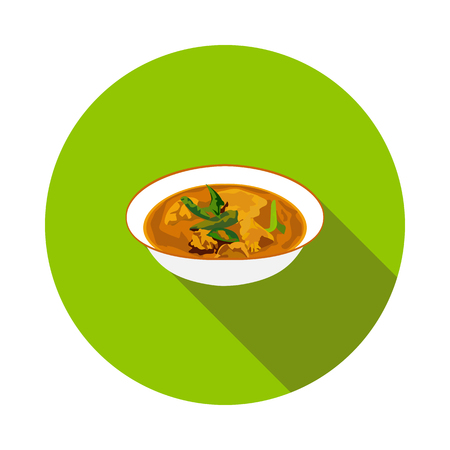 flat chicken curry icon Illustration