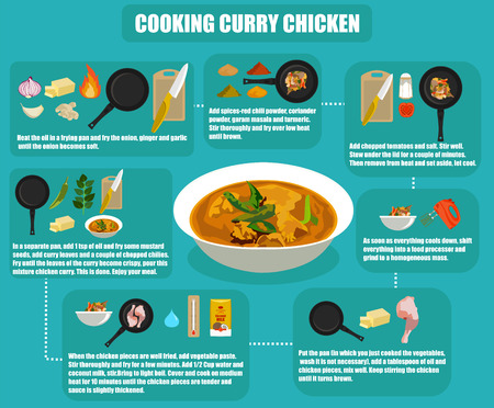 flat infographics cooking curry