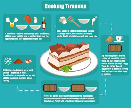 flat infographics cooking tiramisu Illustration